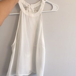 See through white crop top small